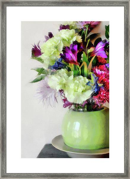 Floral Bouquet In Green Framed Print