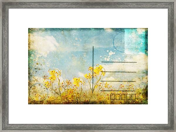 Floral In Blue Sky Postcard Framed Print