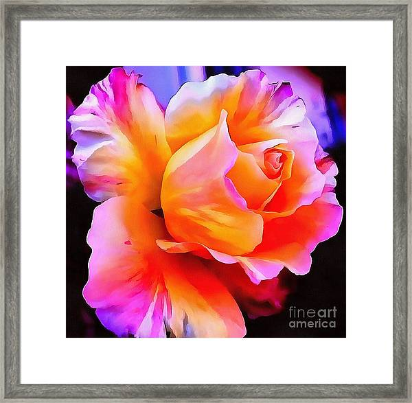 Floral Interior Design Thick Paint Framed Print