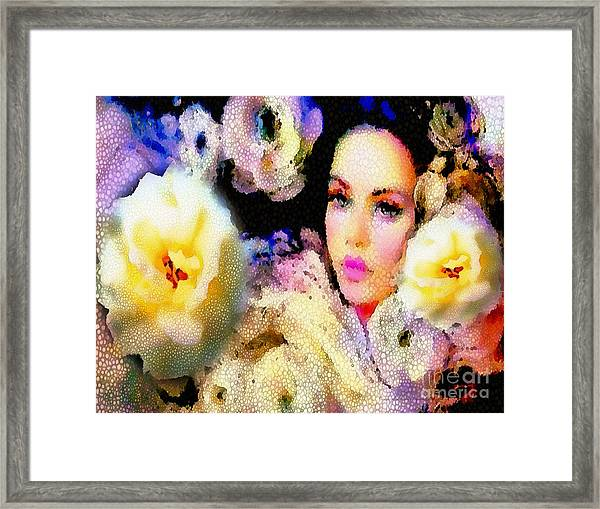 Floral Mosaic She In Thick Paint Framed Print