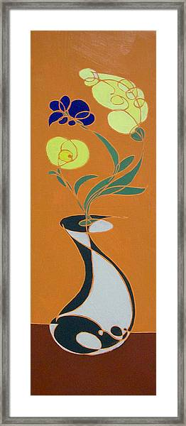 Floral On Orange Framed Print