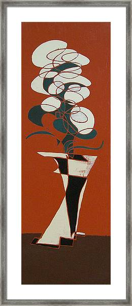 Floral On Red Framed Print