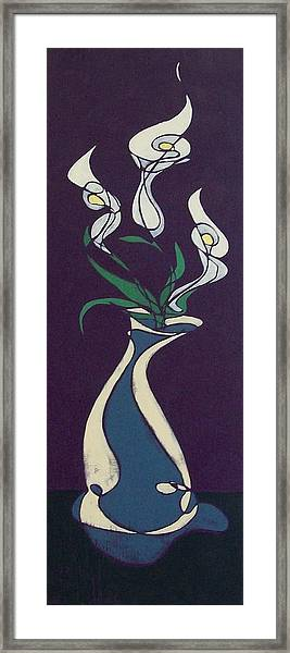 Floral On Violet Framed Print