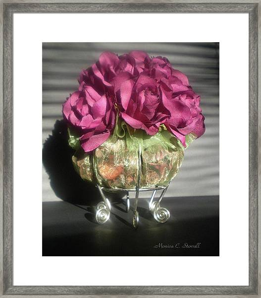 Floral Potpourri On A Silver Stand Framed Print