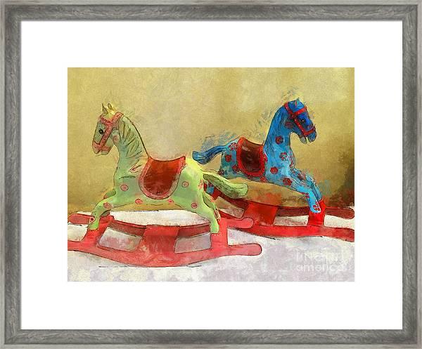 Floral Rocking Horses Framed Print
