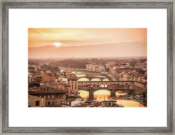 Florence At Sunset Framed Print
