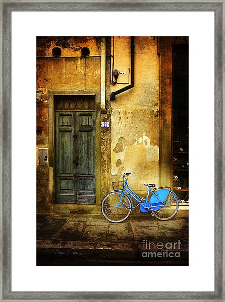 Florence Blue Bicycle Framed Print