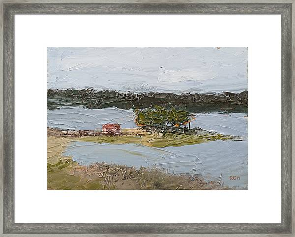 Framed Print featuring the painting Florida Lake II by Break The Silhouette
