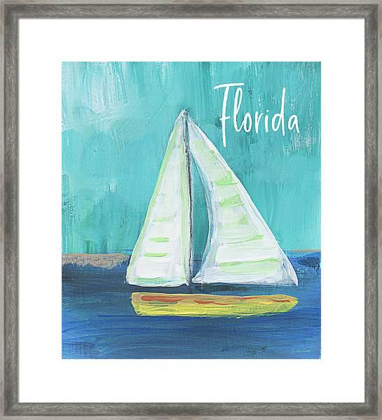 Florida Sailing 2- Art By Linda Woods Framed Print