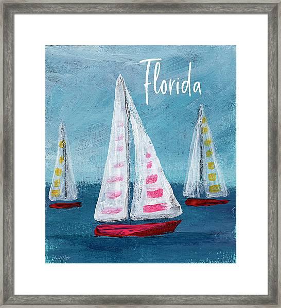 Florida Sailing- Art By Linda Woods Framed Print