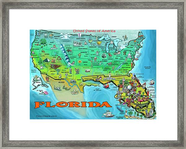 Florida Usa Cartoon Map Framed Print