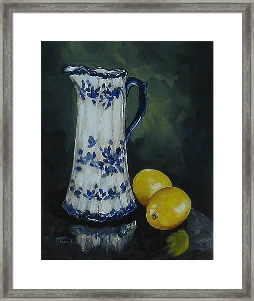 Flow Blue And Lemons  Framed Print