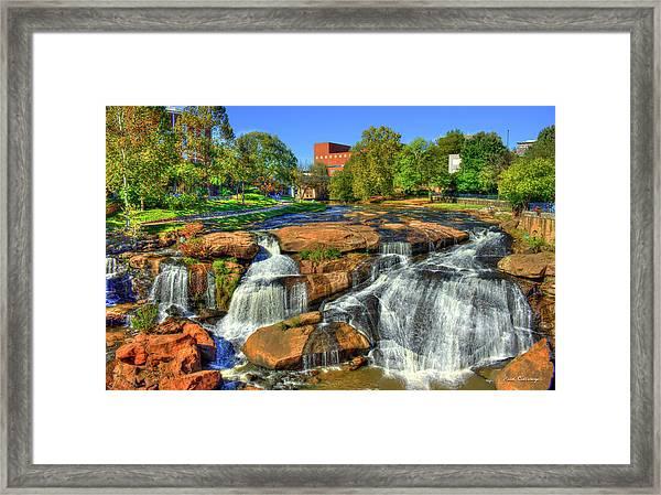 Flow On Reedy River Falls Park Art Greenville South Carolina Art Framed Print