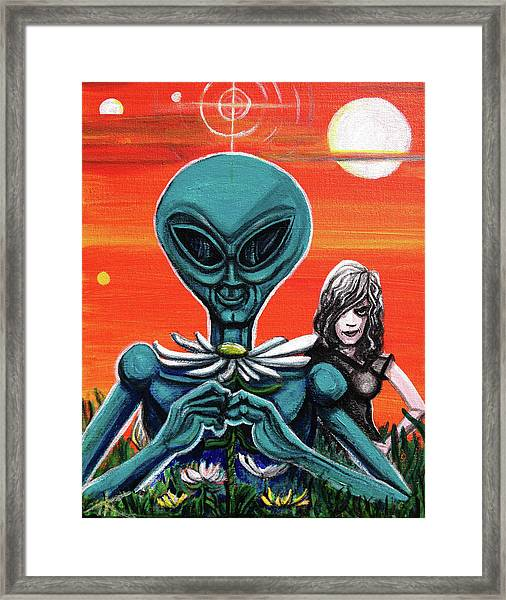 Flower. Alien. Moon Framed Print