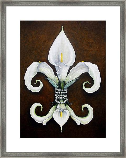 Flower Of New Orleans White Calla Lilly Framed Print
