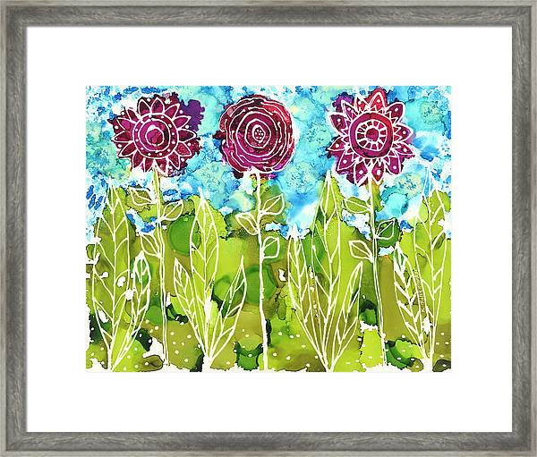 Framed Print featuring the painting Flower Power by Kathryn Riley Parker