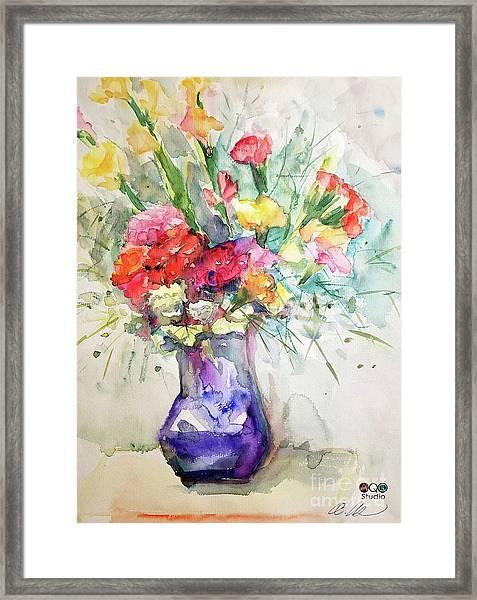 Flower With Purple Vase Framed Print