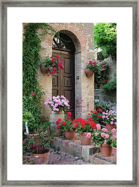 Flowered Montechiello Door Framed Print