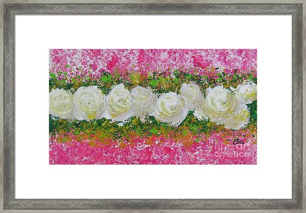 Flowerline In Pink And White Framed Print
