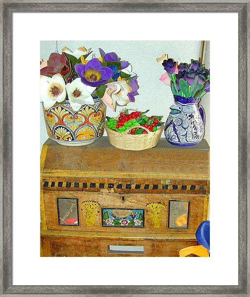 Framed Print featuring the photograph Flowers And Antique Chest by Joseph R Luciano