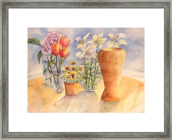 Flowers And Terra Cotta Framed Print