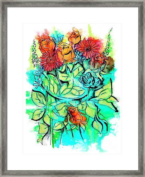 Flowers Bouquet, Illustration Framed Print