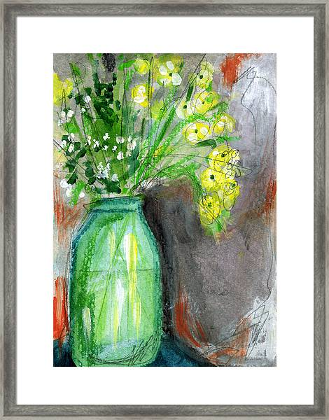 Flowers In A Green Jar- Art By Linda Woods Framed Print