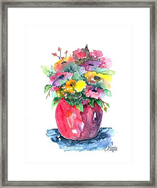 Flowers In A Pink Vase Framed Print