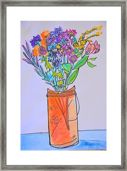 Flowers In An Orange Mason Jar Framed Print