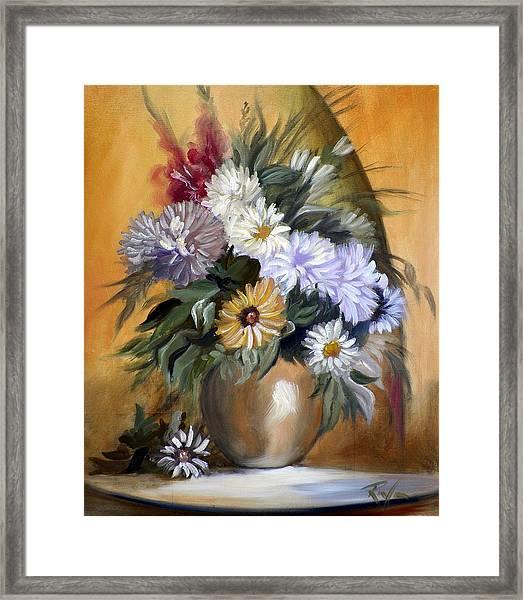Flowers In Gold Vase Framed Print