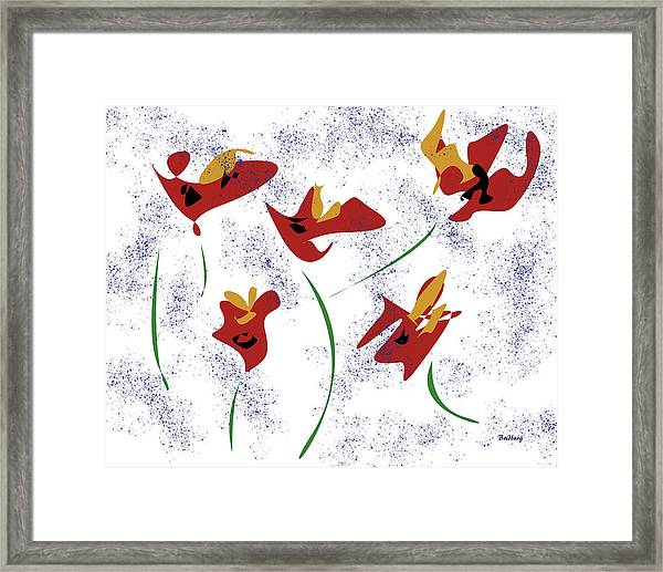 Flowers In The Wind Framed Print