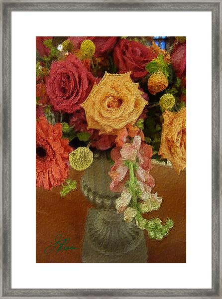 Flowers In Vase Framed Print