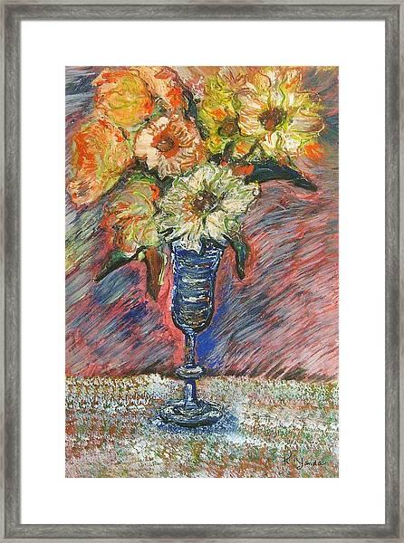 Flowers In Wine Glass Framed Print