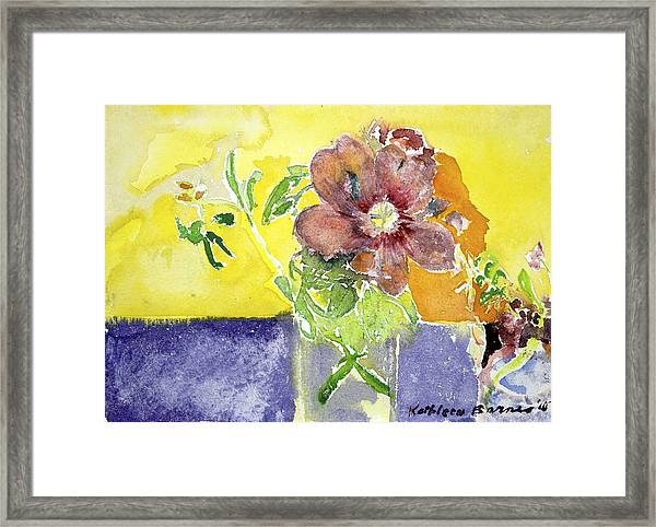Flowers On A Blue Table Framed Print