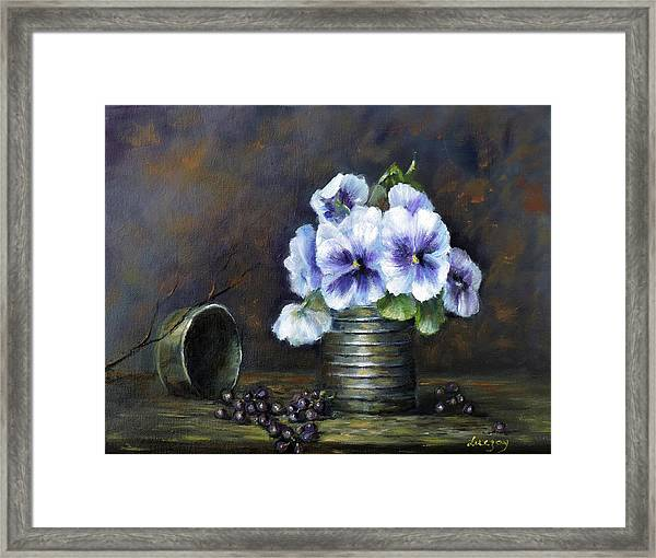 Flowers,pansies Still Life Framed Print