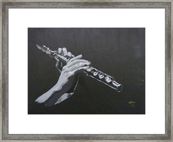 Flute Hands Framed Print