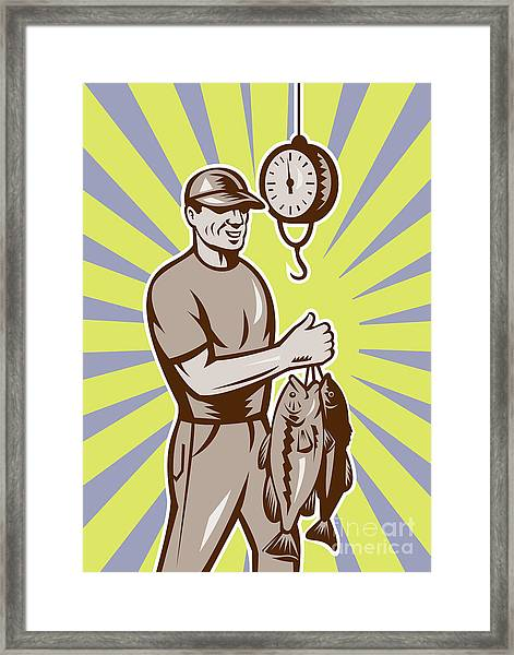 Fly Fisherman Weighing In Fish Catch  Framed Print