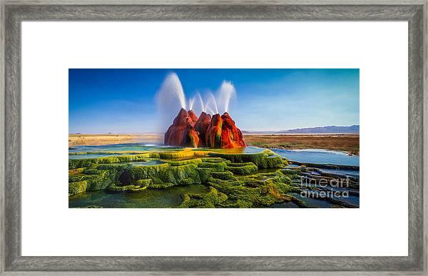 Fly Geyser Panorama Framed Print