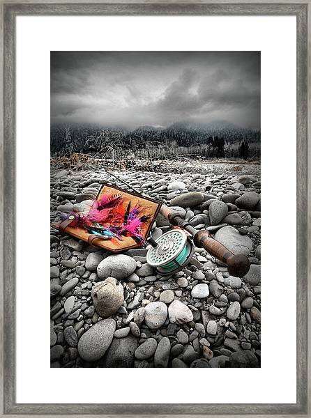 Fly Rod And Streamers Portrait Framed Print