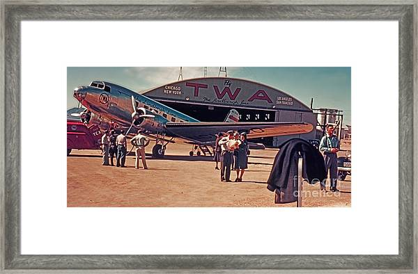 Fly Twa The Lindberg Line By Henry Bosis Framed Print