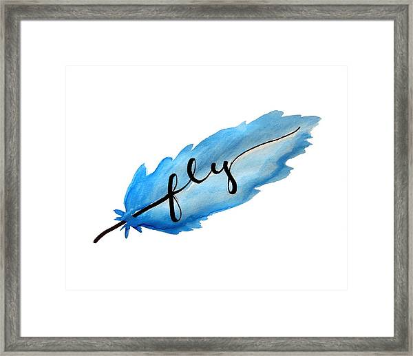 Fly Watercolor Feather Horizontal Framed Print