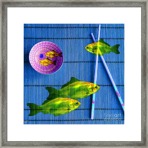 Flying Fish And The Pink Moon Framed Print
