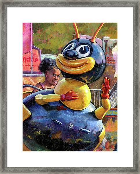 Flying High With Mr. Bee Framed Print