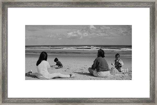 Flying Kites At The Beach.... Framed Print