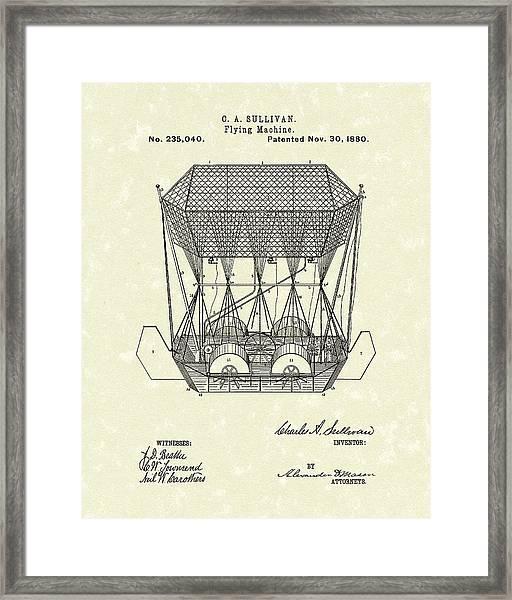 Flying Machine 1880 Patent Art Framed Print