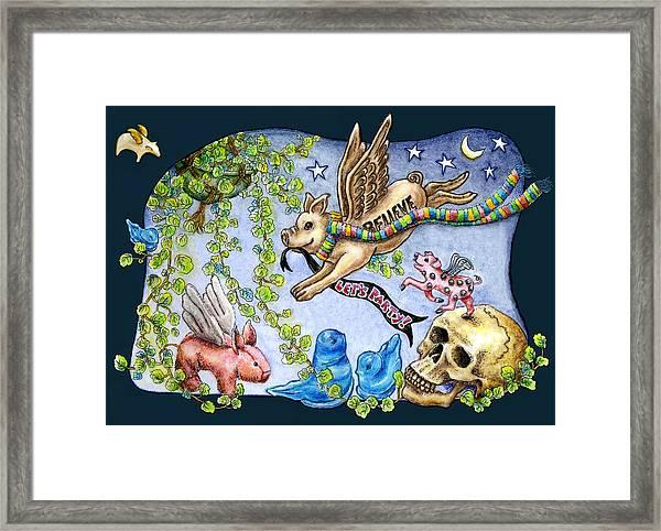 Flying Pig Party 2 Framed Print