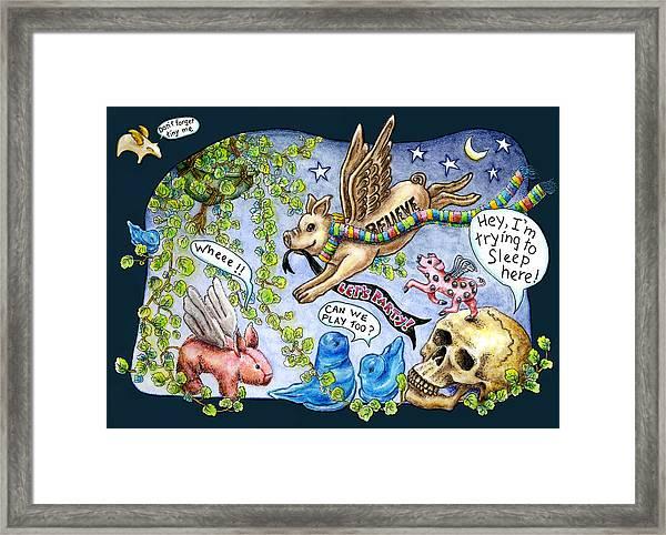 Flying Pig Party Framed Print