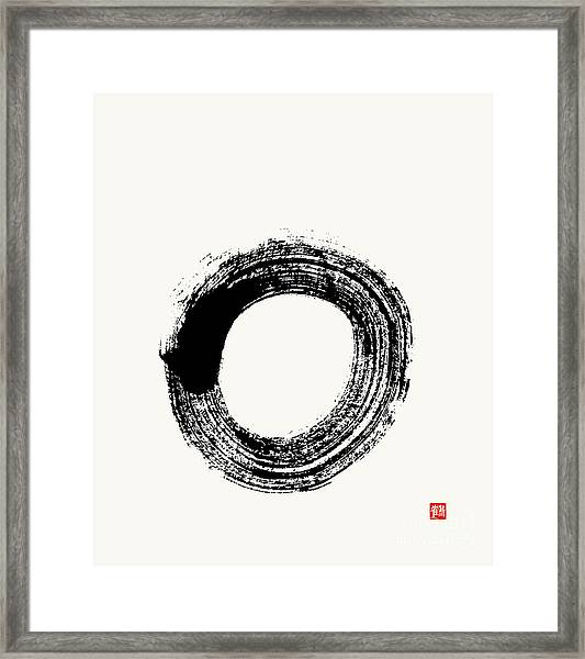Flying White Zen Enso Circle Framed Print