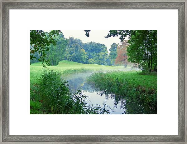 Fog Along A Creek In Autumn Framed Print