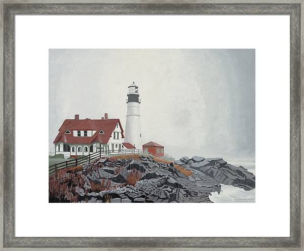 Framed Print featuring the painting Fog Approaching Portland Head Light by Dominic White